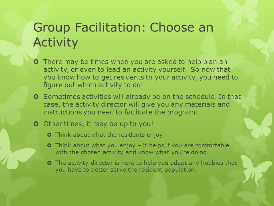 Group Facilitation: Choose an Activity