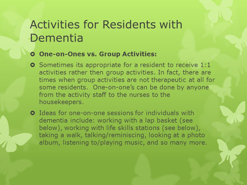 Activities for Residents with Dementia