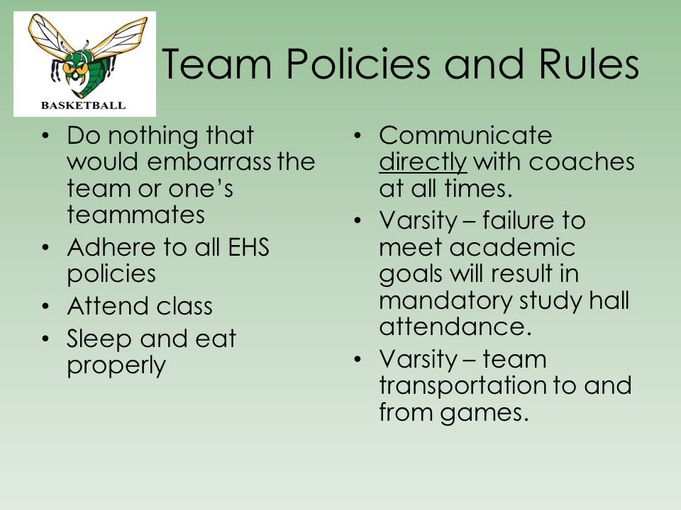 Team Policies and Rules