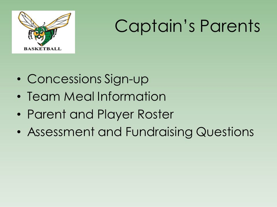 Captain's Parents Concessions Sign-up Team Meal Information