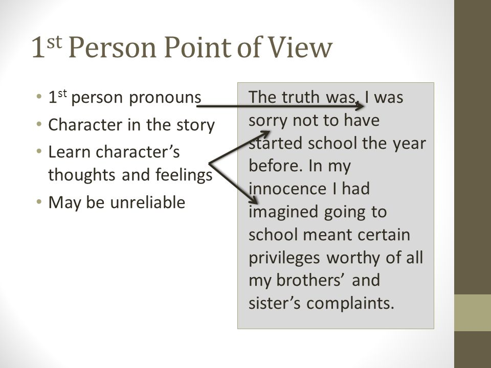 1st Person Point of View 1st person pronouns Character in the story