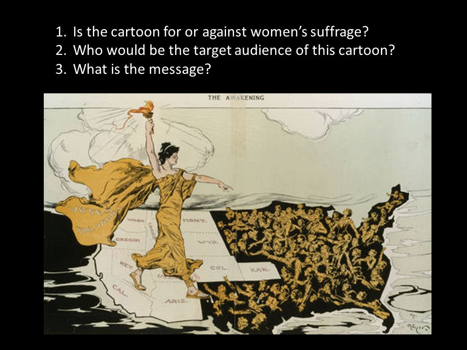 Is the cartoon for or against women's suffrage