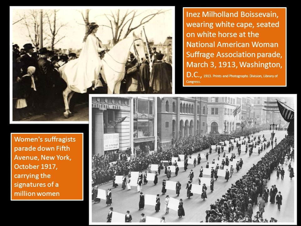 Inez Milholland Boissevain, wearing white cape, seated on white horse at the National American Woman Suffrage Association parade, March 3, 1913, Washington, D.C., 1913. Prints and Photographs Division, Library of Congress.