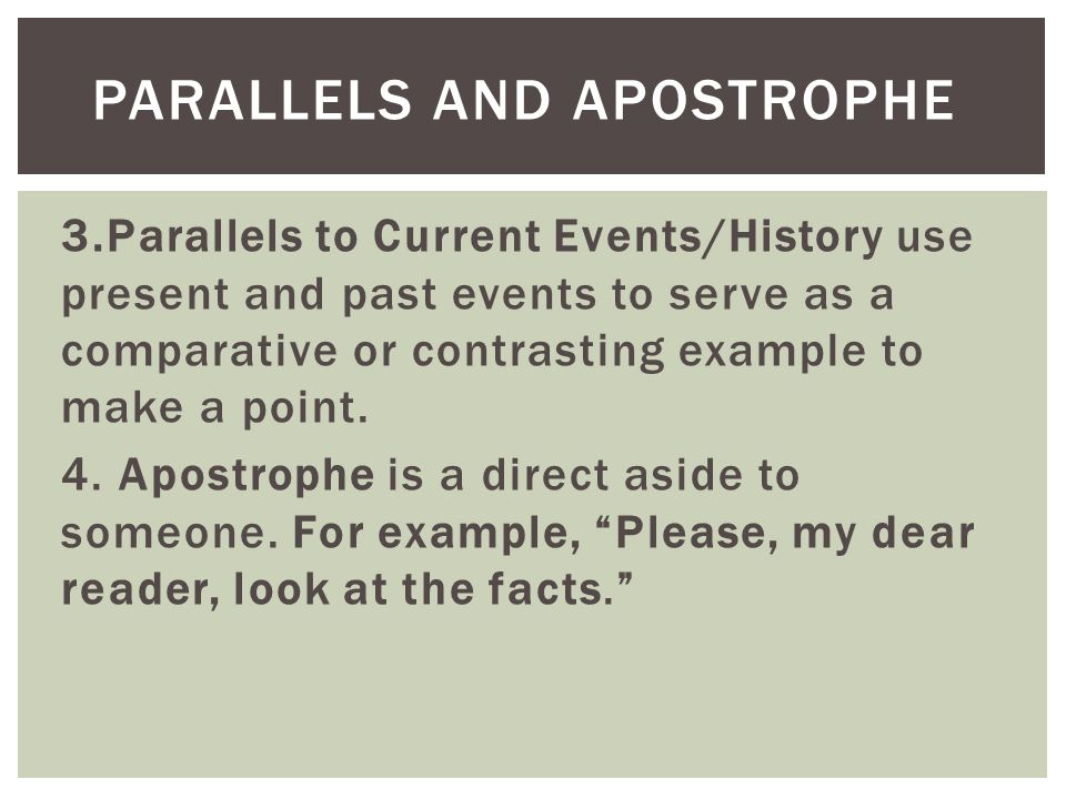 Parallels and Apostrophe