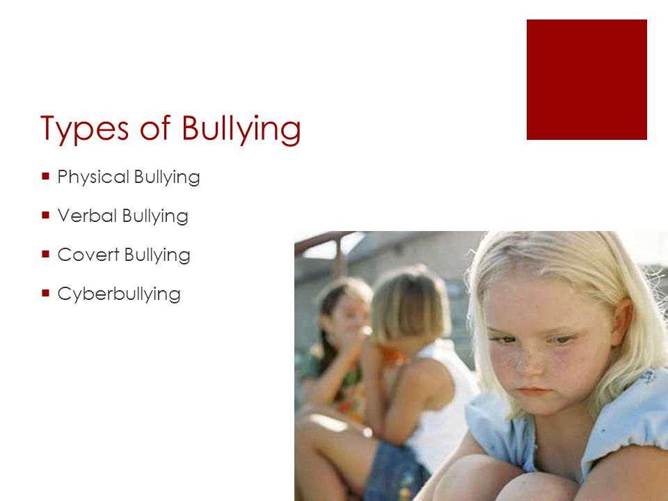 Types of Bullying Physical Bullying Verbal Bullying Covert Bullying