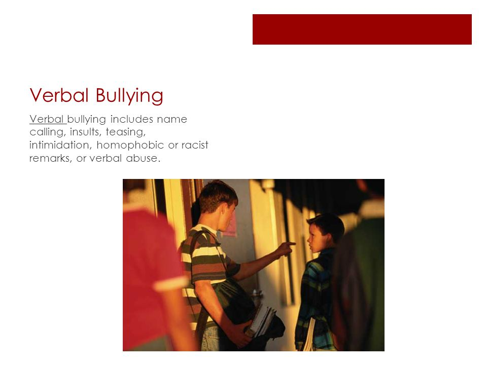 Verbal Bullying Verbal bullying includes name calling, insults, teasing, intimidation, homophobic or racist remarks, or verbal abuse.