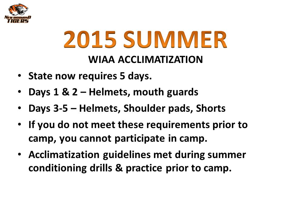 2015 SUMMER WIAA ACCLIMATIZATION State now requires 5 days.