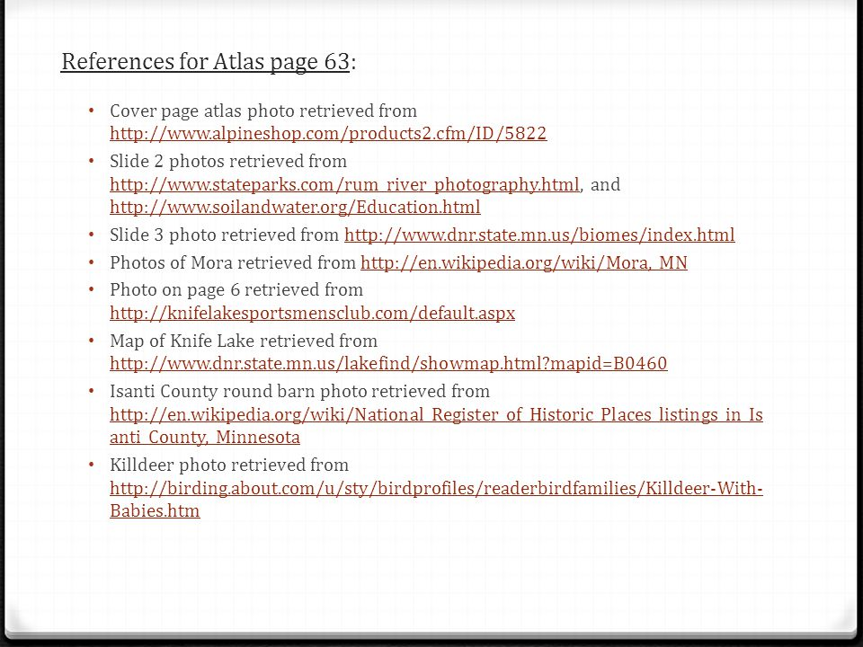 References for Atlas page 63: