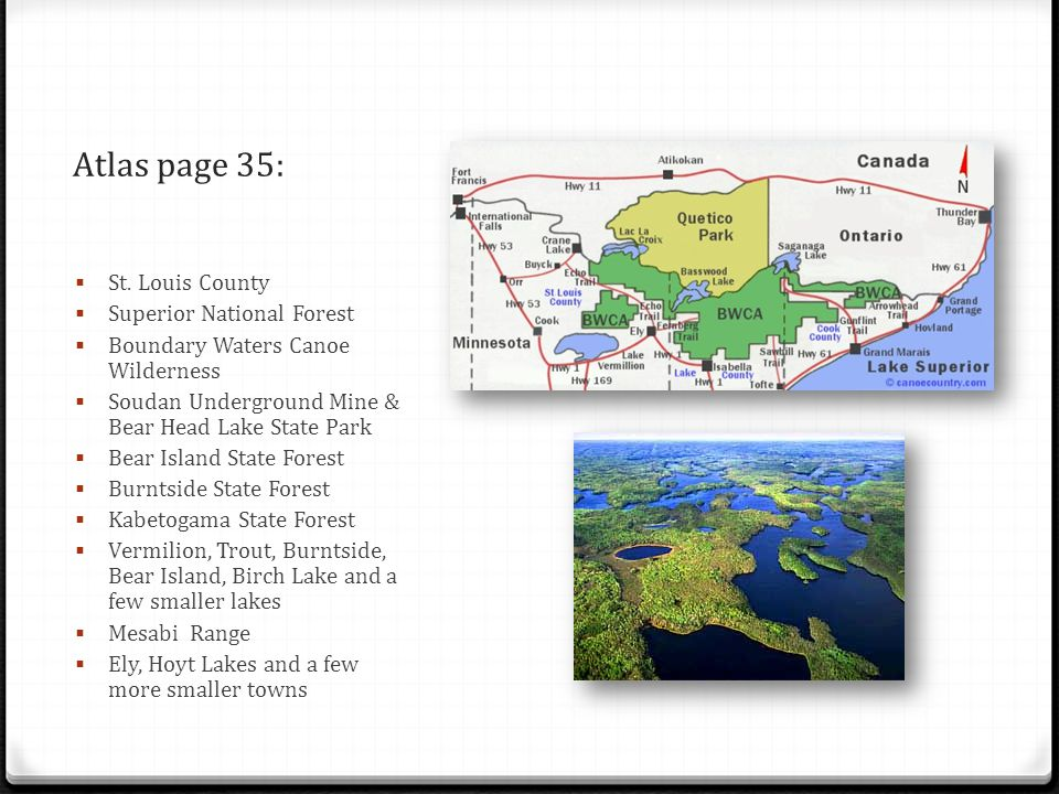 Atlas page 35: St. Louis County Superior National Forest