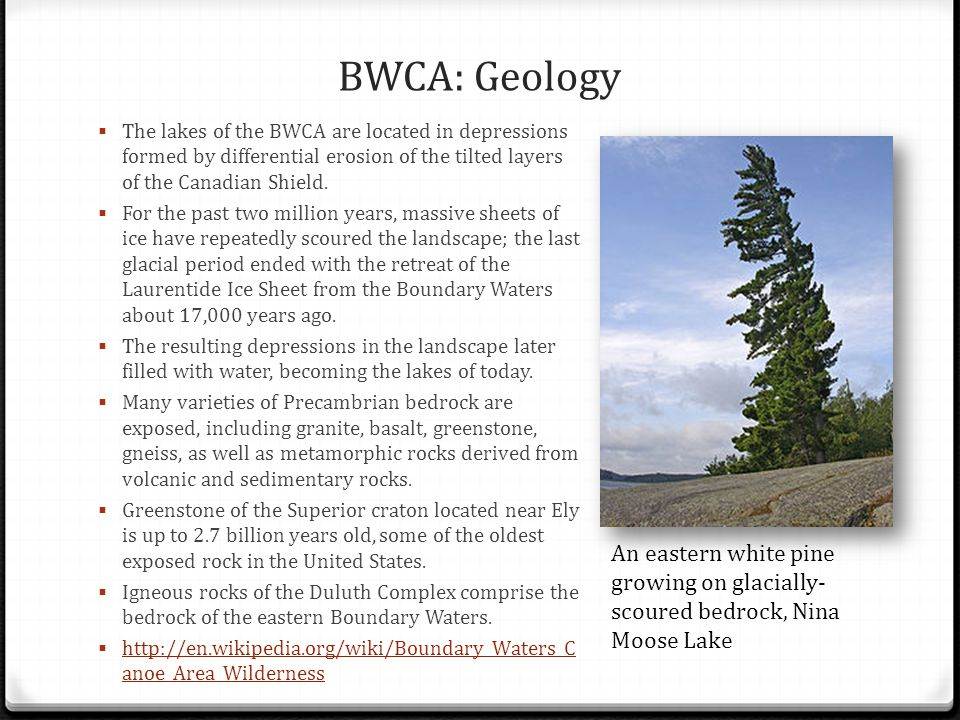 BWCA: Geology The lakes of the BWCA are located in depressions formed by differential erosion of the tilted layers of the Canadian Shield.