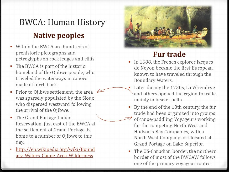 BWCA: Human History Native peoples Fur trade