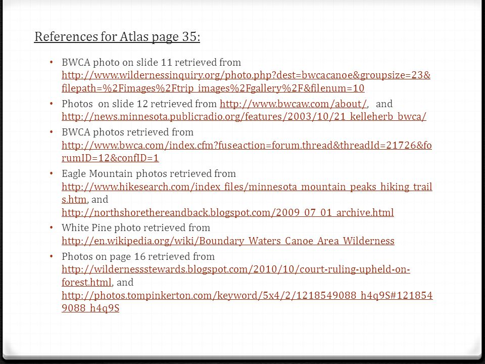 References for Atlas page 35: