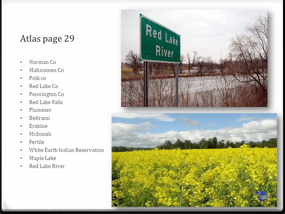 Atlas page 29 Norman Co Mahnomen Co Polk co Red Lake Co Pennington Co