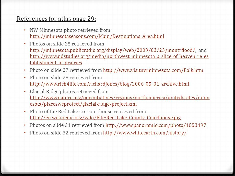 References for atlas page 29: