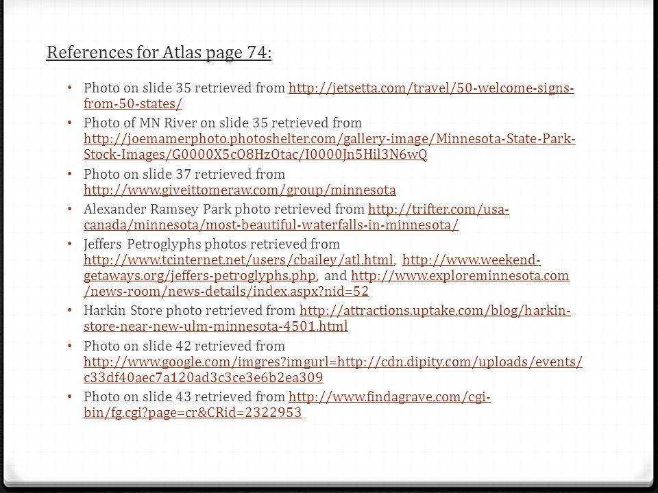 References for Atlas page 74: