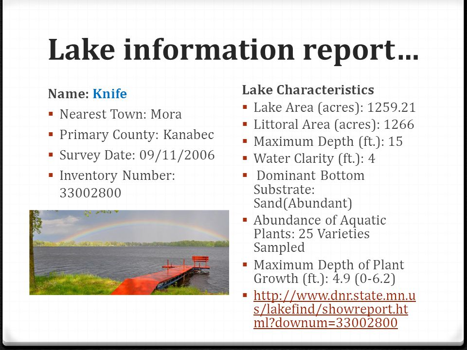 Lake information report…