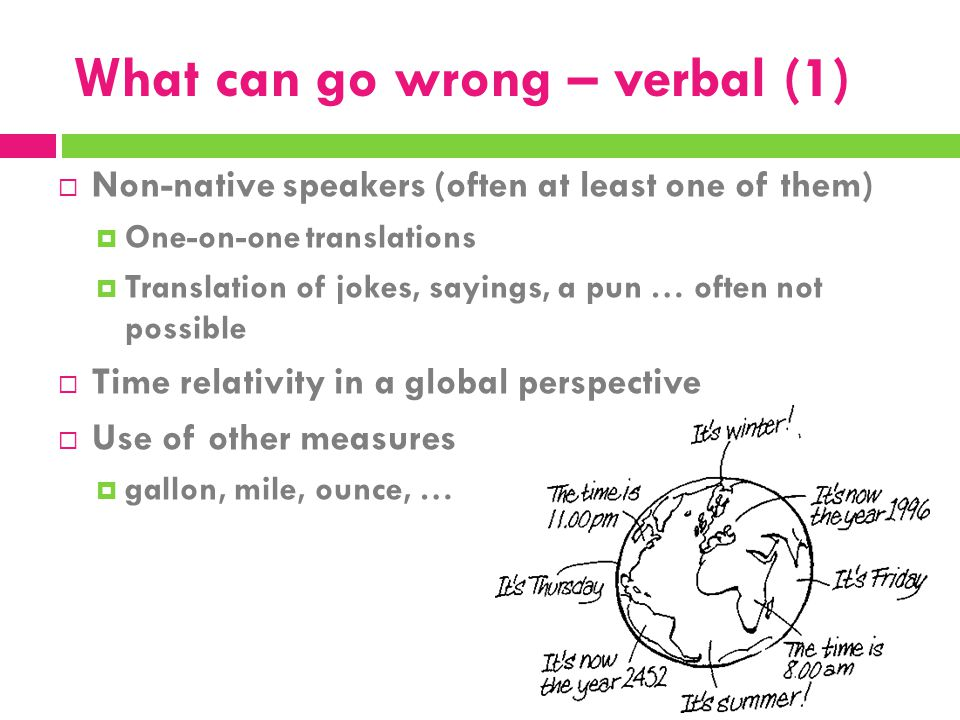 What can go wrong – verbal (1)