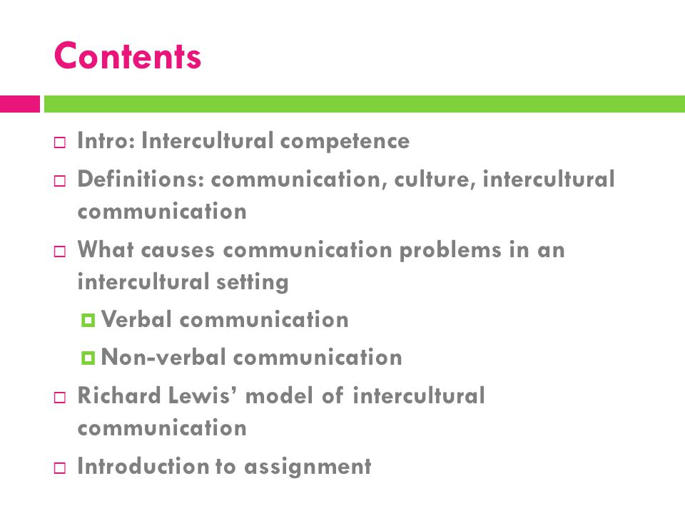 Contents Intro: Intercultural competence