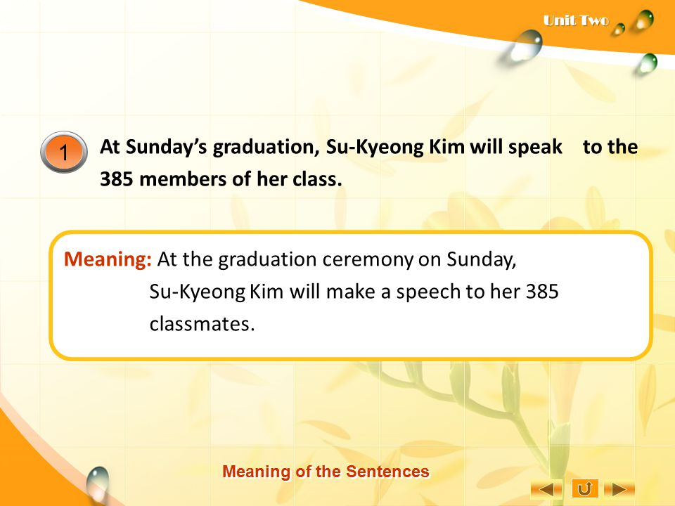 Meaning: At the graduation ceremony on Sunday,