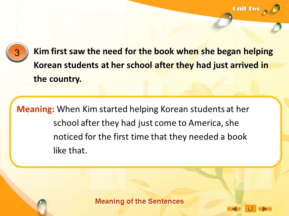 Meaning: When Kim started helping Korean students at her