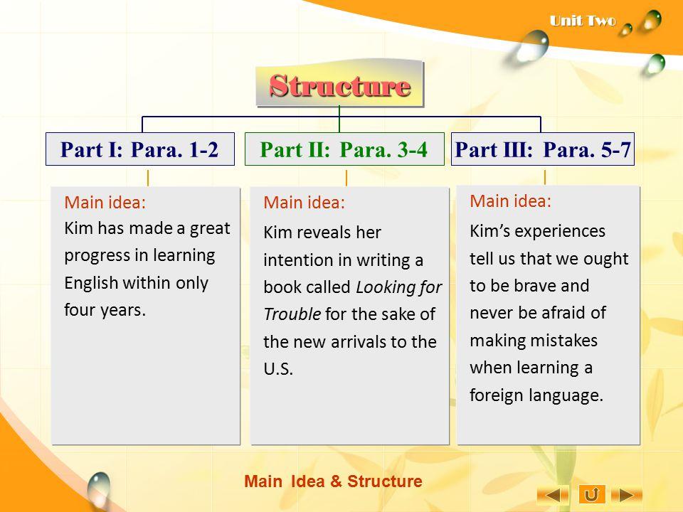 Structure Part II: Para. 3-4 Part III: Para. 5-7 Part I: Para. 1-2