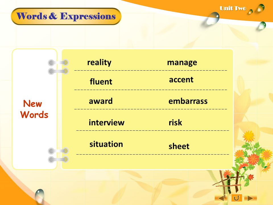 Words & Expressions New Words reality manage fluent embarrass risk