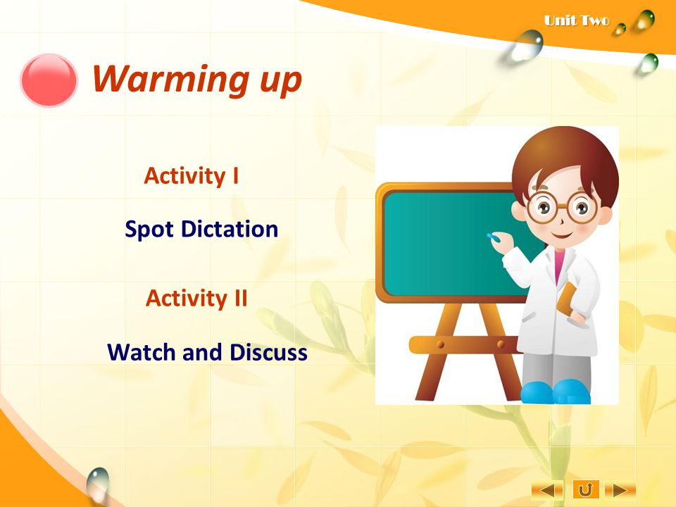 Warming up Activity I Spot Dictation Activity II Watch and Discuss