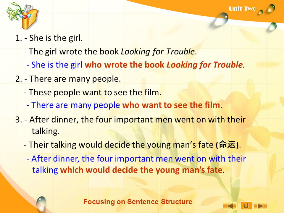 Focusing on Sentence Structure