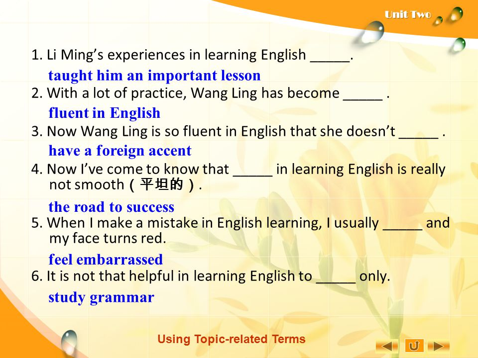 Using Topic-related Terms