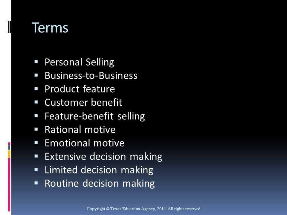 Terms Personal Selling Business-to-Business Product feature