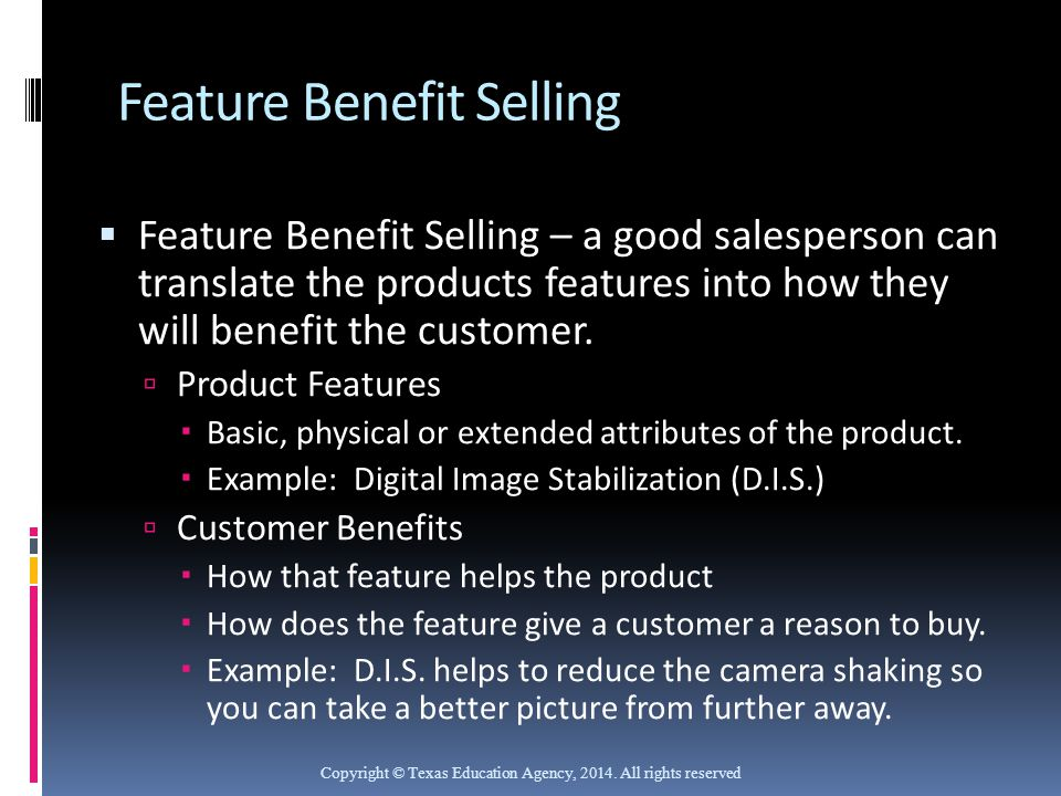 Feature Benefit Selling