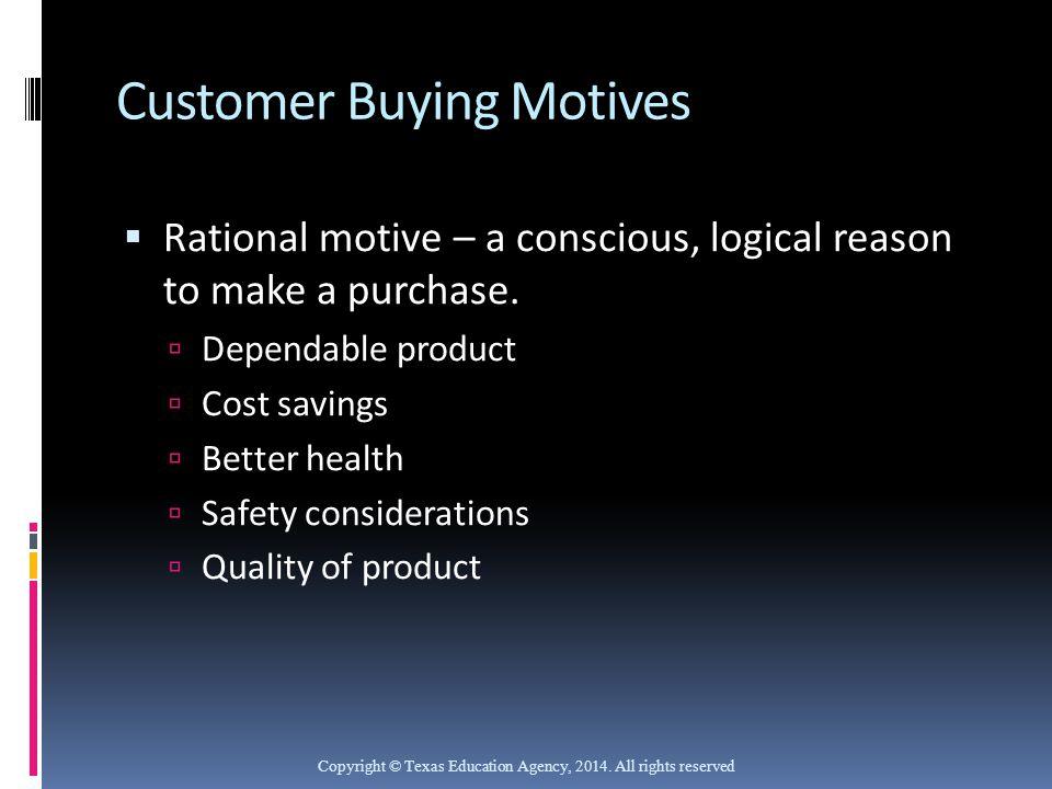 Customer Buying Motives