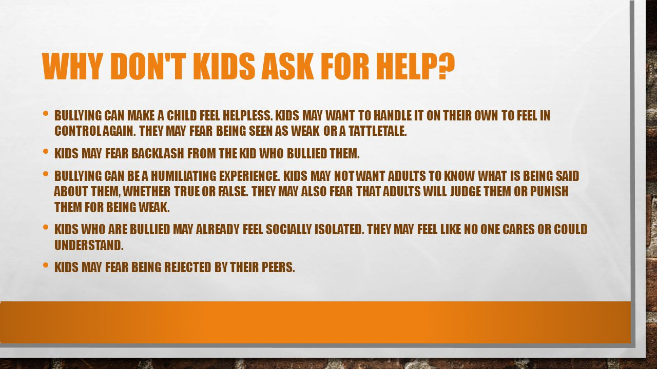 Why don t kids ask for help