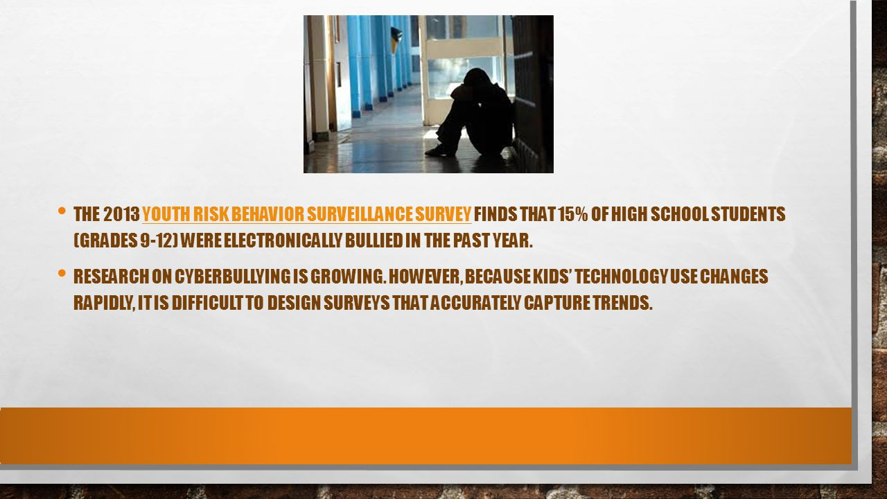 The 2013 Youth Risk Behavior Surveillance Survey finds that 15% of high school students (grades 9-12) were electronically bullied in the past year.