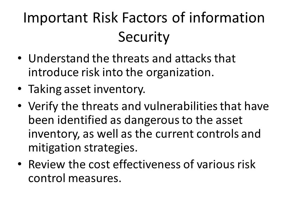 Important Risk Factors of information Security