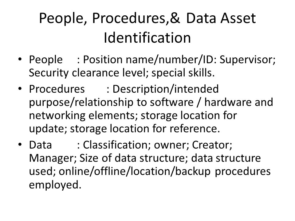 People, Procedures,& Data Asset Identification