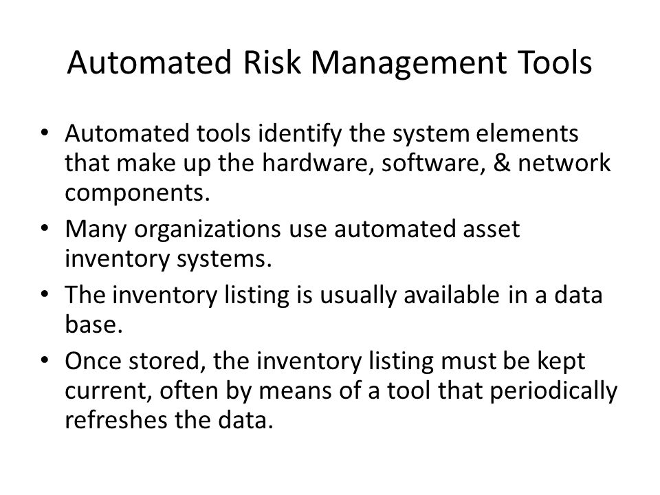 Automated Risk Management Tools