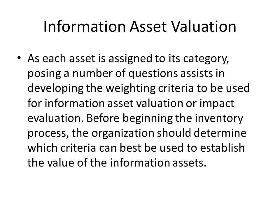 Information Asset Valuation