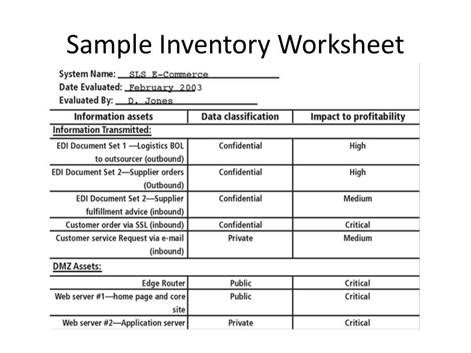 Sample Inventory Worksheet