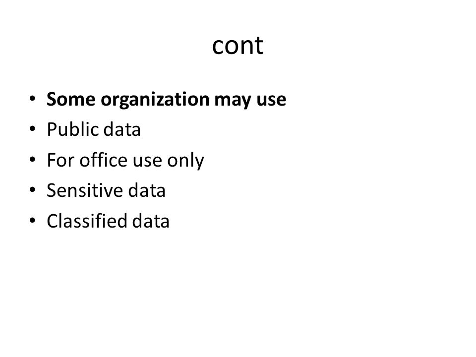 cont Some organization may use Public data For office use only