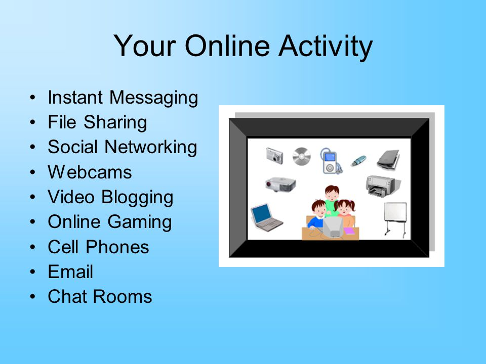 Your Online Activity Instant Messaging File Sharing Social Networking