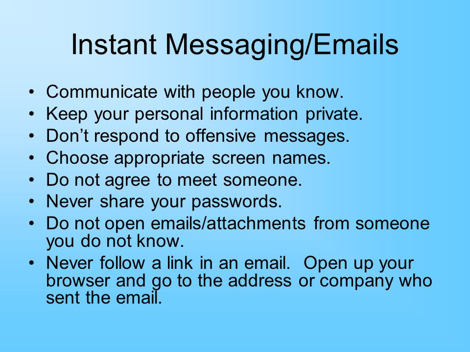 Instant Messaging/Emails