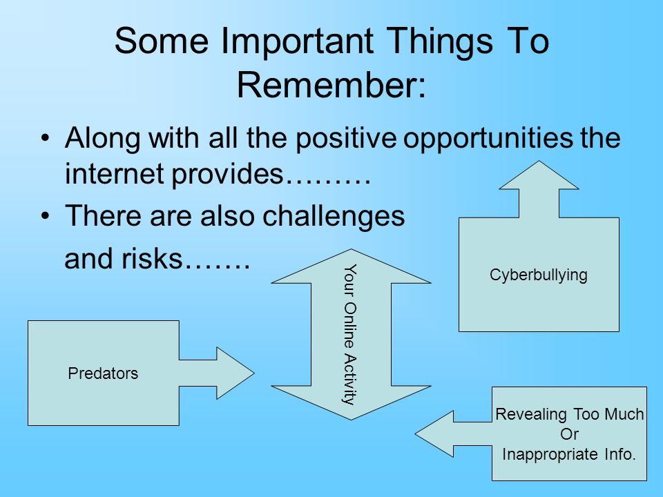 Some Important Things To Remember: