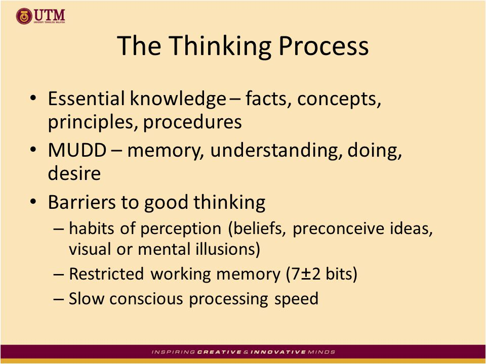 The Thinking Process Essential knowledge – facts, concepts, principles, procedures. MUDD – memory, understanding, doing, desire.