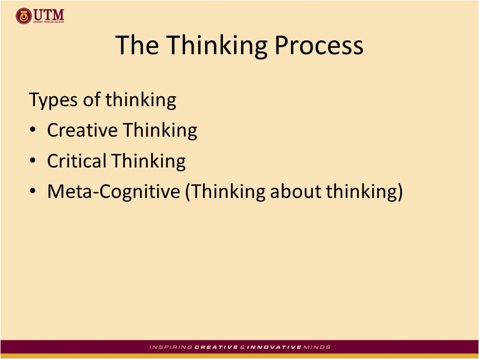 The Thinking Process Types of thinking Creative Thinking