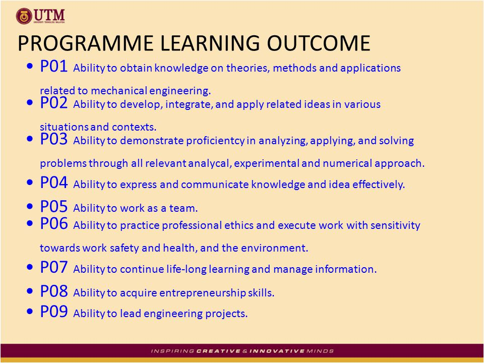PROGRAMME LEARNING OUTCOME