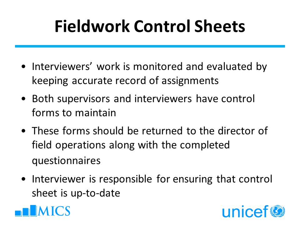 Fieldwork Control Sheets