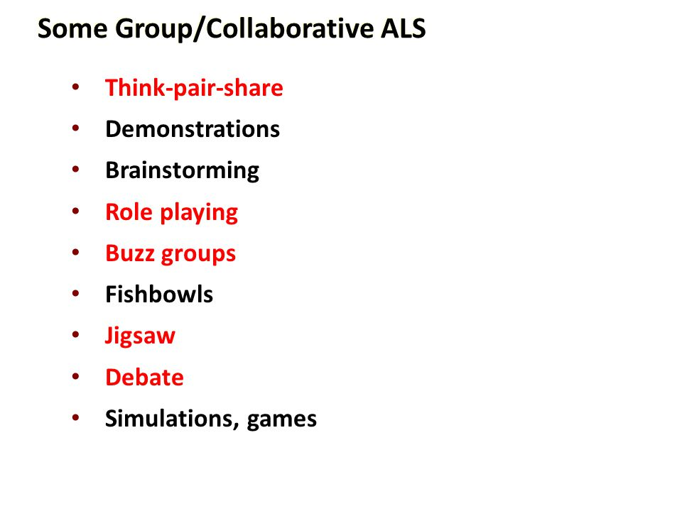 Some Group/Collaborative ALS