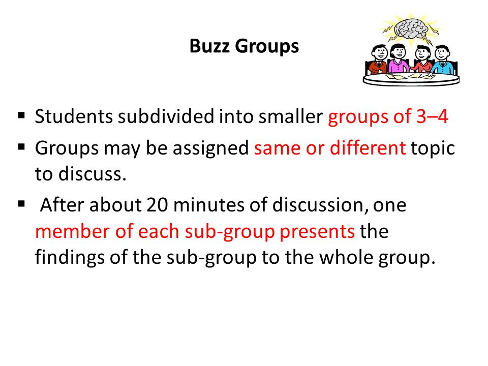 Students subdivided into smaller groups of 3–4
