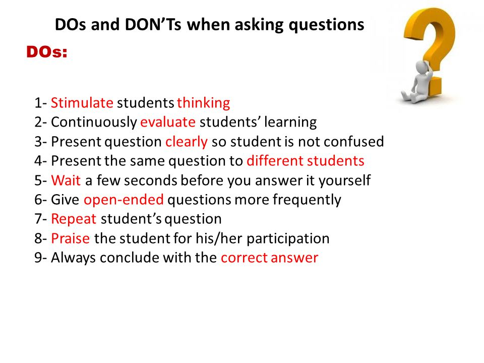DOs and DON'Ts when asking questions